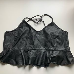 Zara black faux leather crop peplum top
